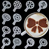 Aliciashouse 12 Pcs Plastic Latte Mold Cappuccino Coffee Decorating Tool Latte Art Coffee Stencils