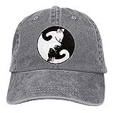 Aoliaoyudonggha Cat Denim Baseball Caps Hat Adjustable Cotton Sport Strap Cap for Men Women