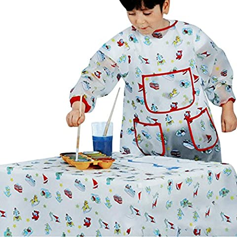 CHIC-CHIC Kinder Malschürze Malerei Schürze Malkittel Bastelkittel mit Taschen Wasserdichte für 3-6