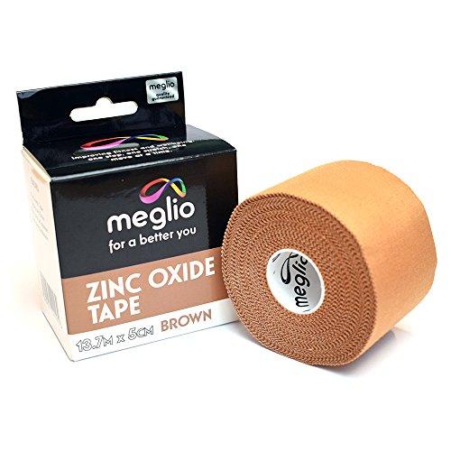 Meglio Sporttape Zinkoxid-Tape - ideal für die Vermeidung von Sportverletzungen und die Unterstützung von Muskelrehabilitation - braun/weiß (5cm x 13,7m, braun) - Gesundheit Erweitern Der Die Gelenke