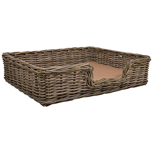 Wicker Extra Large Rectangle Pet Bed Basket  W89 x D69 x H22cm Handmade