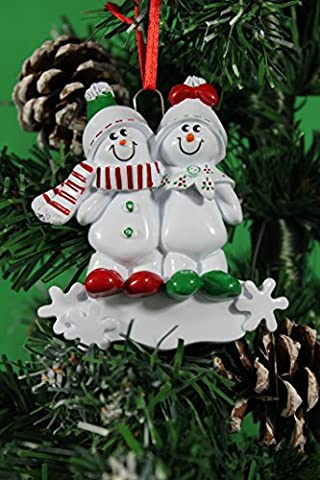Personalized Christmas Tree Decoration Ornaments Snow Sled Family - For the family of 2 members- Get your desired names on the items- A perfect Christmas