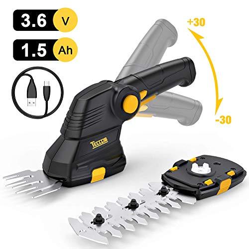 Akku Grasschere, TECCPO 3.6V 1.5Ah, Akku Strauchschere, USB-Ladekabel, 2 in 1 Schneller Werkzeugloser Schalter, Drehgriff, Ideal für den Garten - TDGS01G