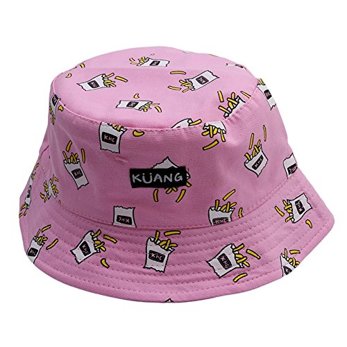 ODN Double Side Banana Chips Hats Vintage Canvas Fisherman Hat Women Sunhat (Pink)