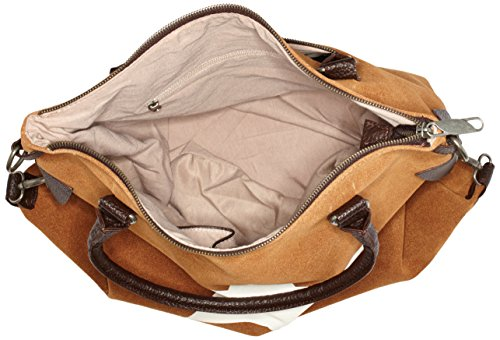 Bags4Less - F3151, Borsa a tracolla Donna Braun (Velours-Camel)