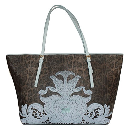 CLASS CAVALLI (Resort) Borsa Shopping Ecopelle Donna Leopard Light Blue CFQ.003