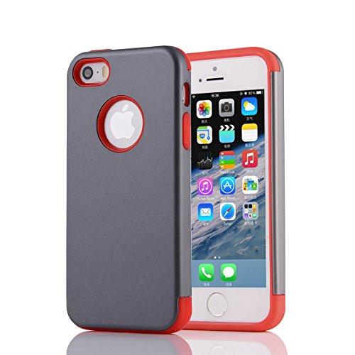 MOONCASE iPhone SE Coque, Combo Hybride Dual Layer TPU +PC Etui Antichoc Robuste Housse Protection Armure Case pour iPhone 5 / 5s / iPhone SE Argent Gris Rouge