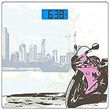 Digitale Präzisionswaage für das Körpergewicht Platz Motorrad Ultra dünne ausgeglichenes Glas-Badezimmerwaage-genaue Gewichts-Maße,Illustration des Sportbikes durch Fluss auf modernem Stadtbild-Hinter