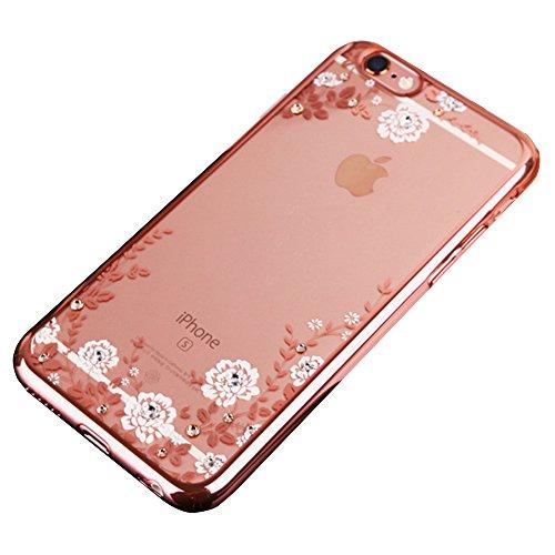 Giardino segreto prova Crash trattare con galvanostegia Caso hard Back per iPhone 6plus / iPhone 6splus - Shock Absorbing + Scratch Resistant Telaio Copertina Caso (Oro di lusso) Rosa bianca