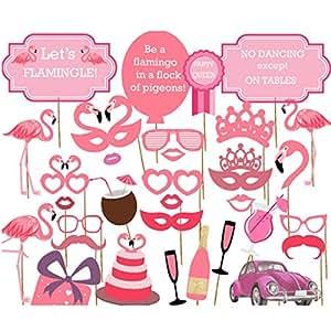 Veewon Flamingo Fotorequisiten Foto Booth Props Hawaii Luau Sommer Party Photobooth Requisiten Kit Party Gefälligkeiten Hen Party Dress Up Zubehör, 32 Stück