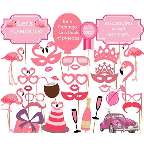 Veewon Flamingo Fotorequisiten Foto Booth Props Hawaii Luau Sommer Party Photobooth Requisiten Kit Party Gefälligkeiten Hen Party Dress Up Zubehör, 32 Stück (Up Flamingo Dress)