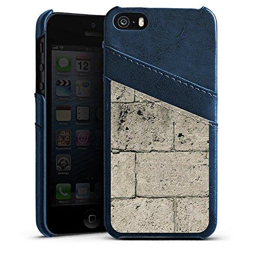 Apple iPhone 4 Housse Étui Silicone Coque Protection Béton Pierre Mur Étui en cuir bleu marine