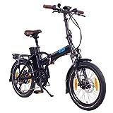 NCM London (+) 20 Zoll E-Bike, E-Faltrad, 36V 15Ah / 19Ah 540Wh / 684Wh Akku, 250W Das-Kit Heckmotor, Scheibenbremsen (Schwarz+)