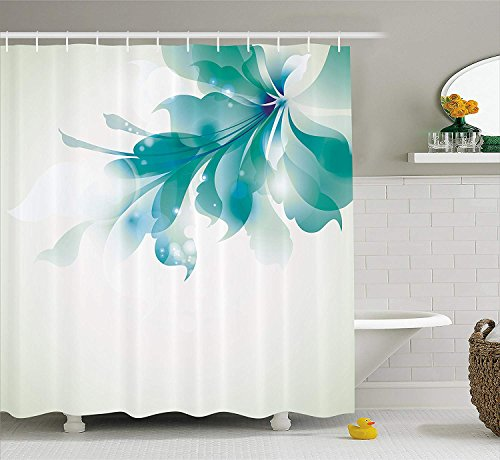 Teal Shower Curtain Pink Blossoms Decor by, Leaves and Plants Ombre Spring Japanese Sakura Flowers in Garden Park, Bathroom Decorations, with Hooks, Petrol Blue Pink 60 X 72 INCH (Ombre Duschvorhang Teal)