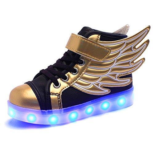 DoGeek Scarpe LED Bambino Scarpe con Luci Luminosi Sneakers con Luce nella Suola Bright Tennis Scarpe Bambina Ali USB 7 Colori Lampeggiante Trainners (32 EU, Oro)