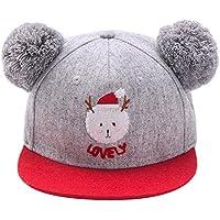 Doitsa Sombrero de niño Gorra de béisbol Linda Moda Bola de pelo de Navidad Cálido Regalo de cumpleaños Otoño Invierno Niños y niñas (rojo)
