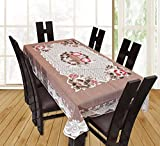 #7: HOME CLOUD Dining Table Cover Beige Net Cloth 6 Seater 60x90 Inches