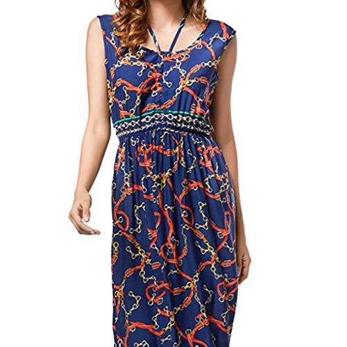 Markthym Frauen-Damen-Druck-Sommer-böhmische ärmellose Abnutzung beide Kleid Frauen Print Sommer Bohemian ärmelloses Kleid - Roll Hals Pullover Kleid