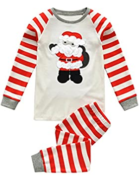Tkiames 2-8 años Niño Navidad Pijama Camisetas + Pantalones, Santa Claus Patrón, Niño Niña Ropa de otoño e invierno