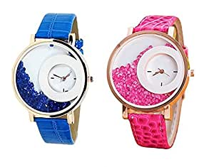 Bollywood Designer Digital Multi-Colour Dial Women's Watch (Pack of 2) -diamond13