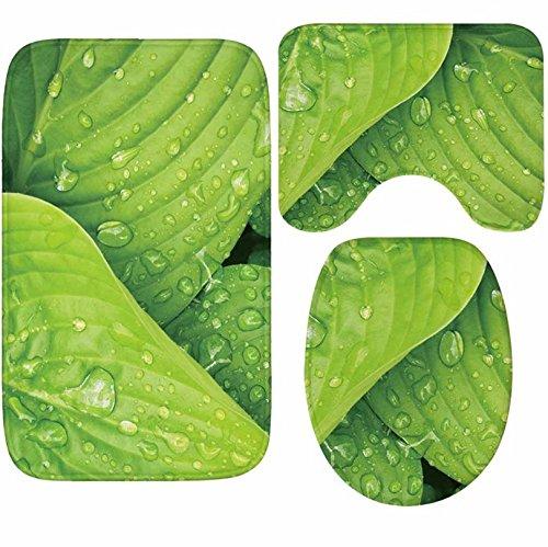 Speedmar saugfähiges Küchentuch-Set, 3-teilig, Flanell, Badezimmer-Set, ausreichend Feuchtigkeit und Blätter, saugfähig, Rutschfeste Badematte + WC-Matte + U-förmige Matte -