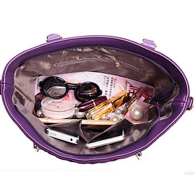 La donna pu / Nylon canna borsa a tracolla / Tote / Cartella / Frizione - Viola / blu / rosso / nero,viola Black