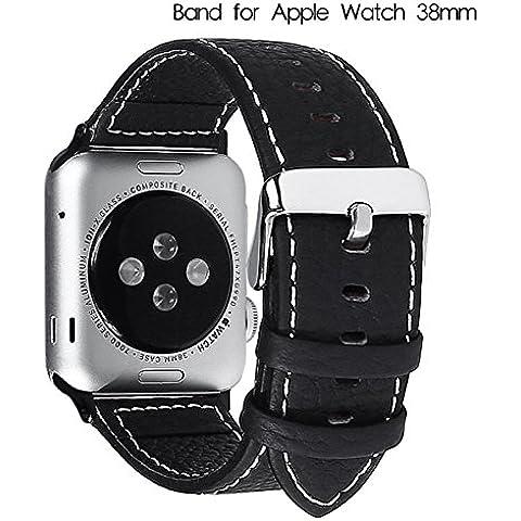Apple Watch Band, Fullmosa® 38mm Litchi Tessitura Grossolana Cinturino iWatch Wristband di Ricambio in Pelle Pieno Fiore con Fibbia in Acciaio Inossidabile per Apple Watch, Nero - Lega Wristband