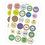 48 x bunte Design Etiketten VEGAN im Mix - für Ihre individuellen Produkte - Manufaktur - Hotel Buffet - Aufkleber Sticker im Set