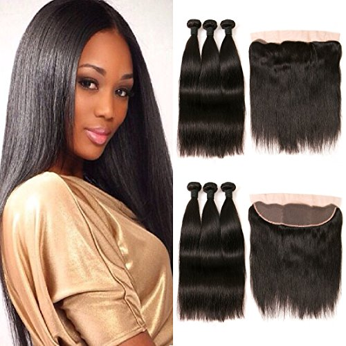 DAIMER Brazilian Virgin Hair with Frontal Lace Closure Ear to Ear Closure Free Part with Baby Hair and Human Hair Weave 3 Bundles 20 22 24 +18 Frontal