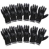 Incutex 12x guantes de trabajo guantes de montaje guantes mecánico guantes de construcción con revestimiento en nitrilo, talla M