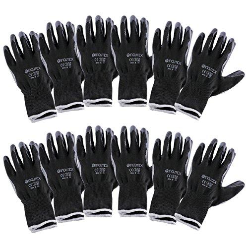 guanti meccanico Incutex 12 paia guanti da lavoro guanti da montaggio guanti meccanico guanti costruzione con rivestimento in nitrile