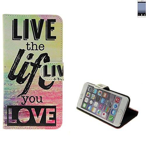 K-S-Trade Für TP-LINK Neffos C7 360° Wallet Case Schutz Hülle ''live The Life You Love'' Schutzhülle Handy Hülle Handyhülle Handy Tasche Etui Smartphone Flip Cover Flipstyle für TP-LINK Neffos C7 -