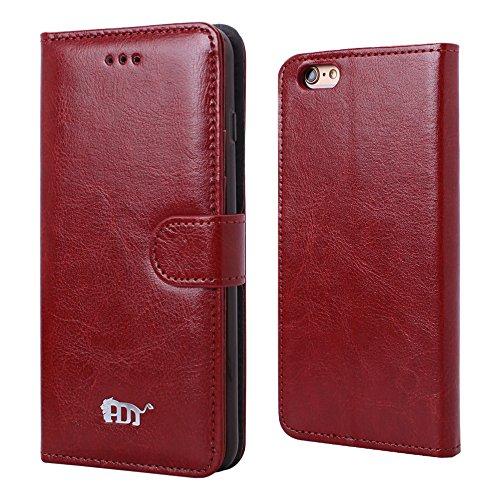 Pdncase iPhone 6 Plus Leder Tasche Case Hülle Sheep Skin Wallet Style Schutzhülle für iPhone 6 Plus Farbe Braun Braun