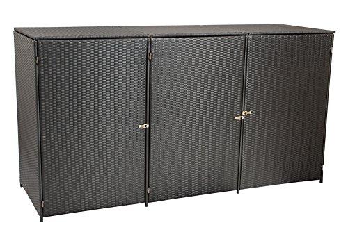 *gartenmoebel-einkauf Mülltonnenbox für 3X Tonnen bis 120 Liter, 190x66x110cm, Stahl + Polyrattan Geflecht Braun*