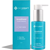 SkinKraft AcneShield Facial Cleanser - Customized Willowbark & Aloe Vera Face Wash For Acne Prone Dry Skin - Cleanses…