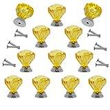 Probrico 31 mm weiß/rot/gelb klare Kristallknäufe Acrylglas Schubladengriffe Diamantschliff rund Küche Schrankgriffe 2 Stück/4 Stück/12 Stück Zinklegierung Basis mit Schrauben für Heimdekoration