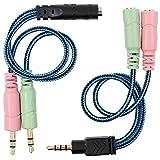 Senhai 3,5 mm Kit Adaptador de Enchufe de Cable, Mutua Conversor de Auriculares de PC y Smartphone, Tablet Auricular, Auriculares con función/micrófono de Forma simultánea