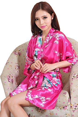 Yidarton Damen Morgenmantel Kimono Robe Bademantel Nachtwäsche kurz aus Satin mit Peacock und Blüten entwerfen knielangen Robe für Hochzeit & Party & Schlafzimmer Rose