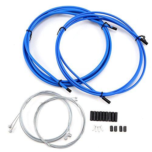 JJOnlineStore Komplettes Fahrradkabel-Set für Vorder- und Hinterrad, Draht für Schaltung, Bremse, Schaltwerk, blau -