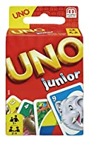 The junior version of the classic card game Uno. The child-sized playing cards are illustrated with brightly coloured animal motifs. With Uno Junior your children learn to recognise their skills in a fun way using colours and numbers. Suitabl...