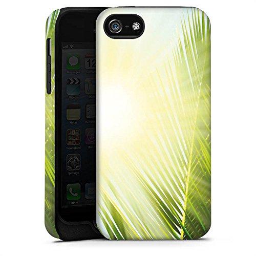 Apple iPhone 5s Housse Étui Protection Coque Palmier Soleil Soleil Cas Tough terne