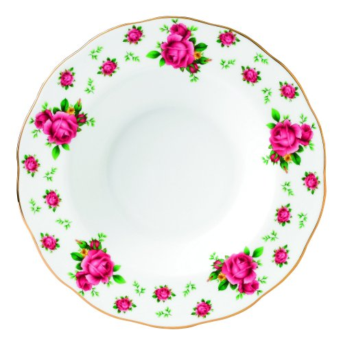 Royal Albert New Country Roses Formal Vintage Rimmed Soup/Salad Bowl, 11-Inch, White by Royal Albert Formale Soup Bowl