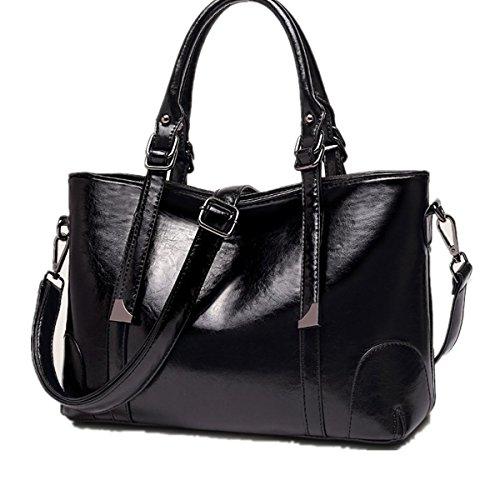 Damen Handtasche Schwarz Groß Reise Shopper Tasche Schwarz