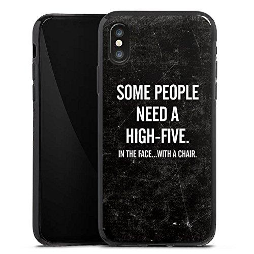 Apple iPhone X Silikon Hülle Case Schutzhülle Sprüche Statements Highfive Silikon Case schwarz