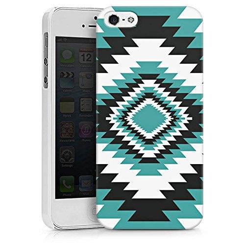 Apple iPhone X Silikon Hülle Case Schutzhülle Ethno Azteken Zick-Zack Hard Case weiß
