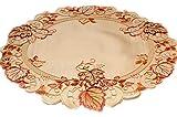 Tischdecken HERBST klassisch Klassische TISCHDECKE Rund 60 cm Herbst Gelb BLÄTTER Orange Rot üppig Gestickt Polyester Mitteldecke (Mitteldecke Rund 60 cm)
