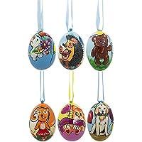 7,6cm set di 6animals- cane, gatto, orso, scoiattolo ornamenti di Natale in legno