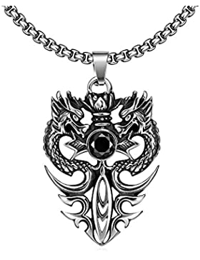 YAZILIND Jewelry Gothic Vintage Drache Anhänger Halskette Titan Steel Fashion für Männer