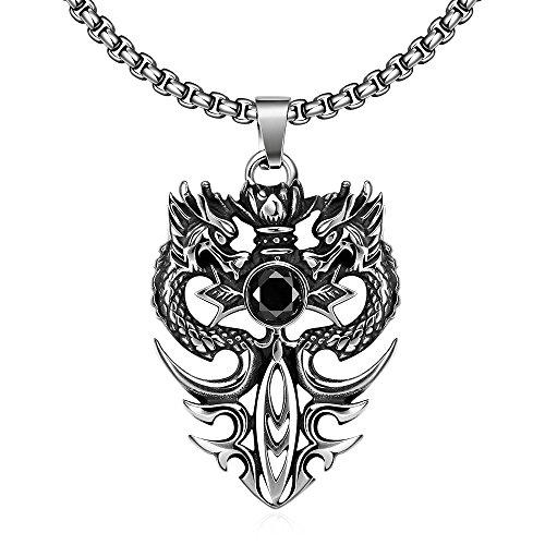 YAZILIND Jewelry Gothic Vintage Drache Anhänger Halskette Titan Steel Fashion für (Drachen Outfit)