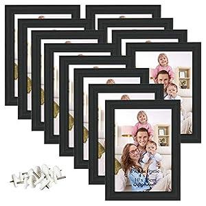Giftgarden Bilderrahmen Schwarz Holz Fotorahmen 10×15 13×18 20×25 22x28cm